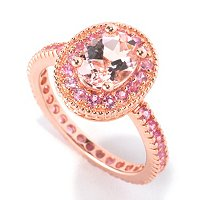 SS/18K ROSE VERMEIL RING 8X6MM MORGANITE & PINK SAPH ETERNITY