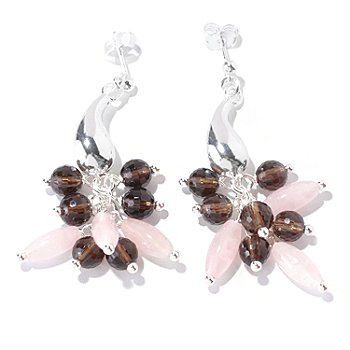 126-584 - SempreSilver™ Multi Gemstone Polished Electroform Dangle Earrings