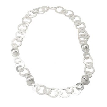 126-587 - SempreSilver™ 32'' Brushed & Satin Finished Flat Link Circle Necklace
