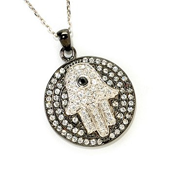 "126-596 - Sonia Bitton for Brilliante® 1.03 DEW Two-Tone Hamsa Pendant w/ 18"" Chain"