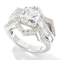 BLTA SS/PLAT CUT CORNER PRINCESS CUT ZIG ZAG RING