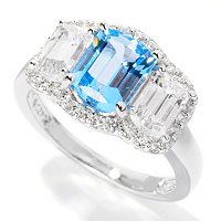 BLTA SS/PLAT THREE STONE ELONGATED CUSHION HALO RING W/ SIMULATED BLUE DIAMOND