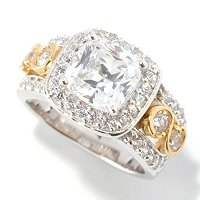 BLTA SS/TWO-TONE CUSHION CUT HALO W/ ROUNDS RING