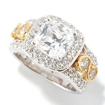 126-601 - Brilliante® Platinum Embraced™ 3.48 DEW Two-Tone Cushion Cut Halo Ring