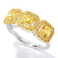 BLTA SS/PLAT SIMULATED CANARY DIAMOND THREE STONE ASSHER CUT HALO RING