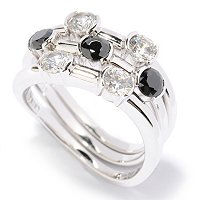 BLTA SS/PLAT SIMULATED BLACK AND WHITE DIAMOND TENSION SET ROUND CUT STACK RINGS