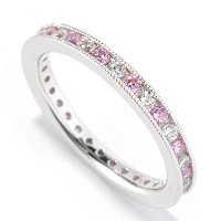 BLTA SS/PLAT SIMULATED PINK & WHITE DIAMOND ROUND CUT ETERNITY BAND RING