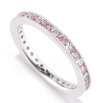 126-610 - Brilliante® Platinum Embraced™ Pink & White Eternity Band Ring
