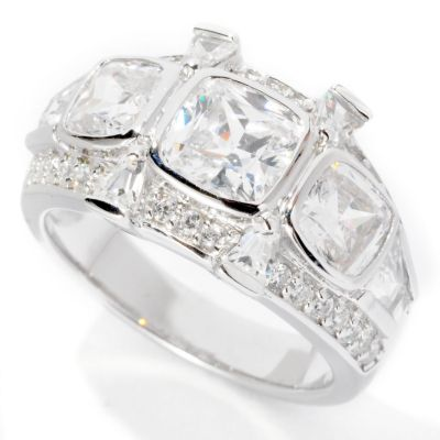 126-612 - Brilliante® Platinum Embraced™ 3.16 DEW Cushion Cut Three-Stone Ring