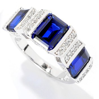 126-614 - Brilliante® Platinum Embraced™ 4.26 DEW Emerald Cut Three-Stone Ring