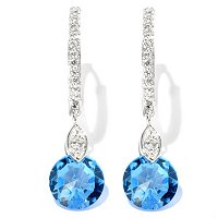 BLTA SS/PLAT CHOICE OF SIMULATED DIAMOND COLORS ROSE CUT DROP EARRINGS