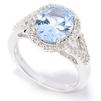 BLTA SS/PLAT SIMULATED COLORED DIAMOND OVAL CUT HALO SPLIT SHANK RING