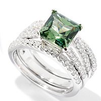 BLTA SS/PLAT GREEN SIMULATED DIAMOND PRINCESS CUT SPLIT SHANK RING WITH 2 BANDS