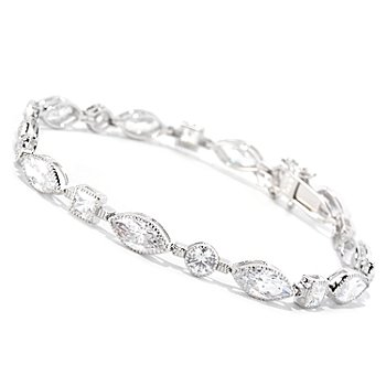 126-625 - Brilliante® Platinum Embraced™ Bezel Set Simulated Diamond Tennis Bracelet
