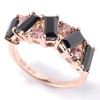 SS/P RING BLACK SPINEL BAGUETTE & EXOTIC GEM BAND