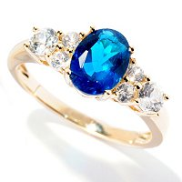 14K YG NEON APATITE RING WITH WHITE ZIRCON ACCENT RING