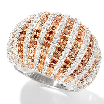 126-636 - Diamond Treasures Sterling Silver 1.50ctw Diamond Striped Dome Ring