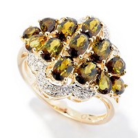 14K YG VERDE TOURMALINE MULTI STONE RING