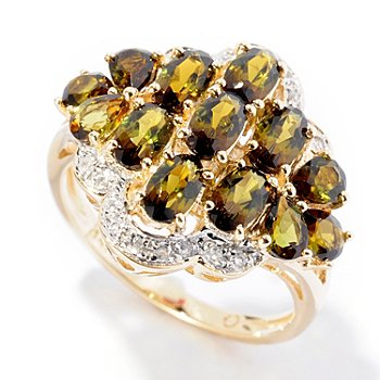 126-639 - Gem Treasures 14K Gold 2.09ctw Green Tourmaline & White Zircon Multi Stone Ring