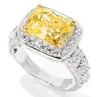 BLTA SS/PLAT SIMULATED CANARY DIAMOND CUSHION HALO RING W/ MILGRAIN
