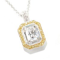 "BLTA SS/PLAT RADIANT EMERALD CUT WHITE AND CANARY PENDANT W/ 18"" CHAIN"