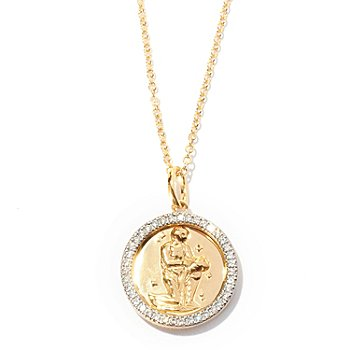 126-644 - Brilliante® Round Cut Simulated Diamond Zodiac Disk Pendant w/ Chain