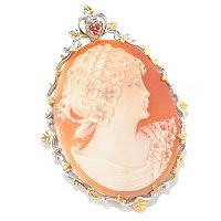 SS/PALL PEND 50mm ITALIAN-CARVED PORTRAIT SHELL CAMEO PIN/ENHANCER