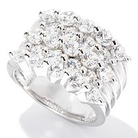 SB SS/CHOICE ROUND CUT 5-ROW SHARED PRONG RING
