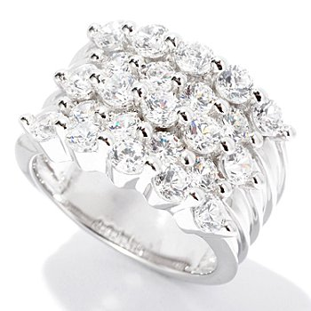 126-664 - Sonia Bitton for Brilliante® 2.62 DEW Round Cut Five-Row Shared Prong Ring