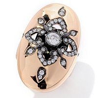 SB SS/TWO TONE ROUND CUT OVAL SHAPE POLISHED FLOWER RING