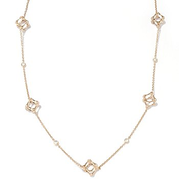 "126-669 - Sonia Bitton for Brilliante® Gold Embraced™ 24"" 1.99 DEW Cube Station Necklace"