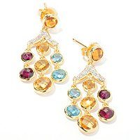 SS/18KV EAR MULTI GEM & WHT SAPH CHANDELIER