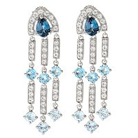 SS/PLAT EAR MULTI TOPAZ CHANDELIER