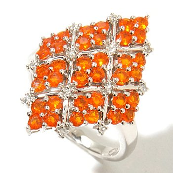 126-683 - NYC II Fire Opal & White Zircon Diamond-Shape Ring