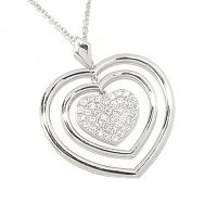 "SB SS/CHOICE PAVE HEART PENDANT W/ 18"" CHAIN"
