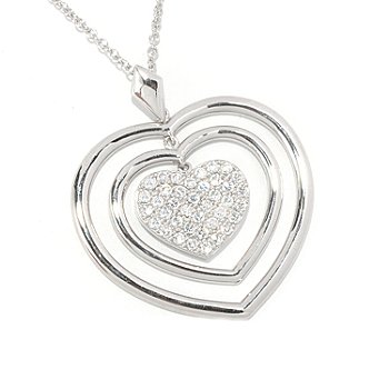 "126-684 - Sonia Bitton for Brilliante® 1.17 DEW Pave Set Heart Pendant w/ 18"" Chain"