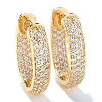 SB SS/CHOICE OVAL PAVE HUGGIE HOOP EARRINGS