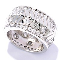 SB SS/CHOICE ROUND CUT BURNISHED & CHANNEL SET ETERNITY BAND RING