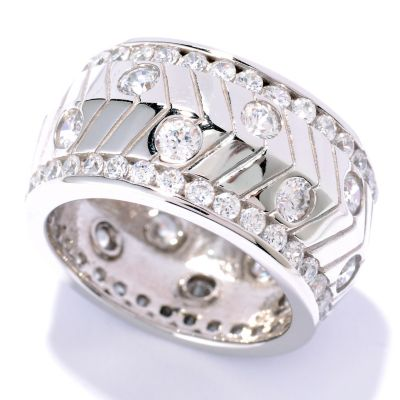 126-687 - Sonia Bitton for Brilliante® 3.12 DEW Round Cut Channel & Burnished Set Eternity Band Ring