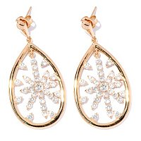 SB SS/18K YGP TEAR DROP SHAPED DROP STAR EARRINGS