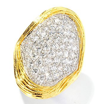126-700 - Sonia Bitton for Brilliante® Two-tone 2.06 DEW Pave Set Textured Elongated Ring