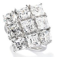 TYCOON SS/PLAT SQUARE AND ROUND CUT DIAMOND SHAPED RING