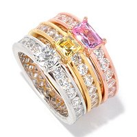 TYCOON SS/TRI COLOR SET OF THREE MULTI CUT ETERNITY BAND RINGS