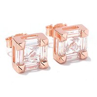 TYCOON SS/CHOICE SQUARE AND BAGUETTE CUT STUD EARRINGS