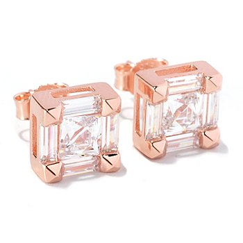 126-712 - TYCOON for Brilliante® 2.74 DEW Square & Baguette Cut Stud Earrings