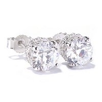 TYCOON SS/PLAT ROUNDTYCOON CUT STUD EARRINGS W/ PAVE ROUNDS