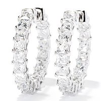 TYCOON SS/PLAT SQUARE TYCOON CUT HOOP EARRINGS