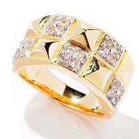 SS/P RING PAVE GEM & PYRAMID BAND