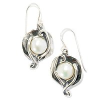STERLING SILVER PETAL PEARL EARRINGS