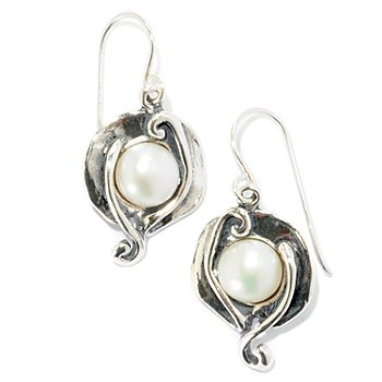 126-739 - Passage to Israel Sterling Silver 7.5-8.5mm White Freshwater Cultured Pearl Petal Earrings